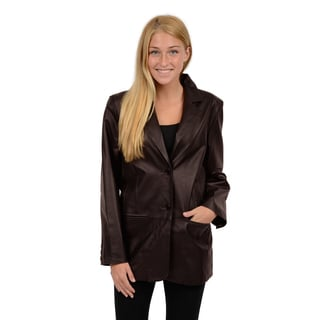 Excelled Women's Black and Brown Lambskin Leather Blazer