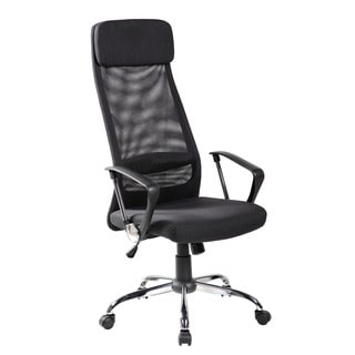 8045HX-BK Black Mesh/Fabric High-back Swivel Office Chair with Fabric Headrest and Seat