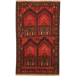 Herat Oriental Afghan Hand-knotted 1960s Semi-antique Tribal Balouchi Wool Rug (2'7 x 4'3)