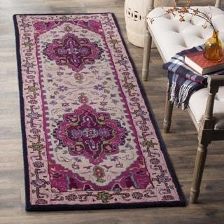 Safavieh Bellagio Handmade Bohemian Ivory/ Pink Wool Runner (2' 3 x 7')