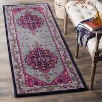 Safavieh Bellagio Handmade Bohemian Grey/ Pink Wool Runner Rug