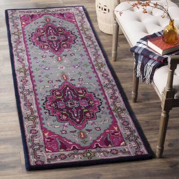 Safavieh Bellagio Handmade Bohemian Grey/ Pink Wool Runner Rug - 2' 3 x 7'