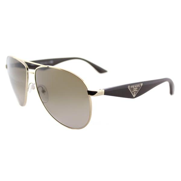 b23121c0097 Prada PR 53QS ZVN1X1 Triangle Pale Gold Metal Aviator Brown Gradient Lens  Sunglasses