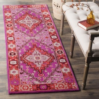 Safavieh Bellagio Handmade Bohemian Red/ Pink Wool Runner (2' 3 x 7')