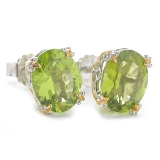 Michael Valitutti Oval Peridot Stud Earrings