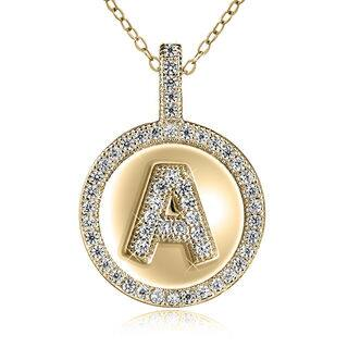 Sterling Silver Gold-plated Cubic Zirconia 18-inch Initial Pendant Necklace|https://ak1.ostkcdn.com/images/products/13444420/P20135034.jpg?impolicy=medium