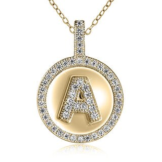 Sterling Silver Gold-plated Cubic Zirconia 18-inch Initial Pendant Necklace (2 options available)