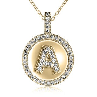 Sterling Silver Gold-plated Cubic Zirconia 18-inch Initial Pendant Necklace