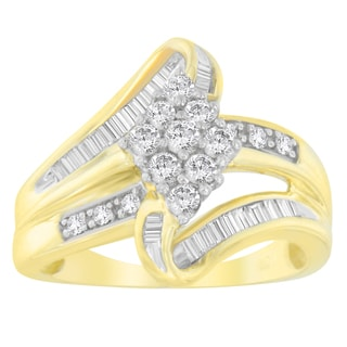 10k Yellow Gold 1/2ct TDW Round and Baguette-cut Diamond Ring (J-K, I1-I2)