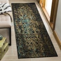 Safavieh Classic Vintage Black/ Olive Cotton Distressed Runner Rug - 2' 3 x 8'