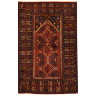 Herat Oriental Afghan Hand-knotted 1960s Semi-antique Tribal Balouchi Wool Rug (3'2 x 4'10)