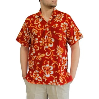 La Leela Men's Aloha Red Silk Beachwear Button-down Relaxed Short-sleeve Hawaiian Shirt