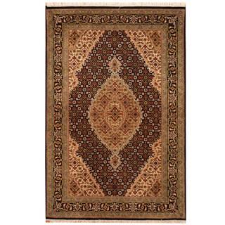 Herat Oriental Indo Hand-knotted Tabriz Wool & Silk Rug (3'2 x 4'10)