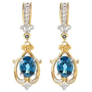 Michael Valitutti London Blue Topaz and Blue Sapphire Dangling Earrings