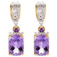 Michael Valitutti African And Brazillian Amethyst Cushion Check Top and Trillion Earrings