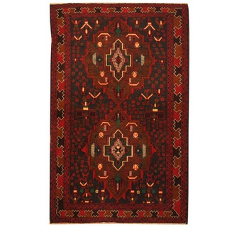 Herat Oriental Afghan Hand-knotted Tribal Balouchi Wool Rug (3'3 x 5')