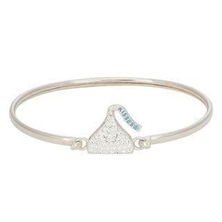 Hershey's Kisses Women's Sterling Silver Swarovski Crystal Removable Hershey Kiss Charm Bangle Bracelet