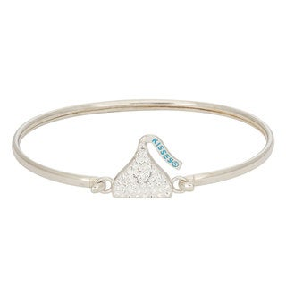 Hershey's Kisses Women's Sterling Silver Swarovski Crystal Elements Removable Hershey Kiss Charm Bangle Brace (Option: Sterling Silver)