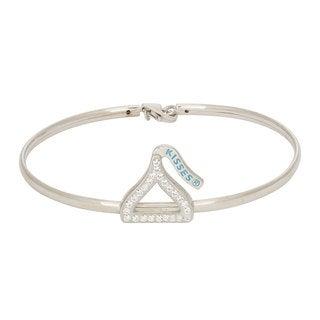 Hershey's Kisses Women's Sterling Silver Swarovski Crystal Open Silhouette Bangle Bracelet