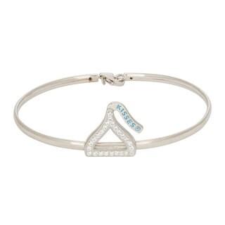 Hershey's Kisses Women's Sterling Silver Swarovski Crystal Elements Open Silhouette Bangle Bracelet