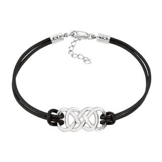 White Sterling Silver Women's Double Infinity Bracelet