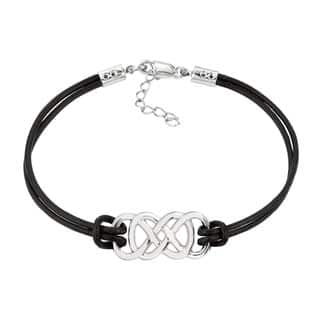 White Sterling Silver Women's Double Infinity Bracelet|https://ak1.ostkcdn.com/images/products/13444511/P20135149.jpg?impolicy=medium