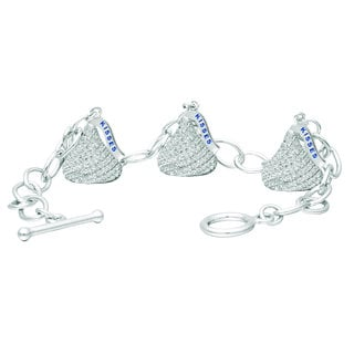 Hershey's Kisses Sterling Silver and Cubic Zirconia Women's Medium 3D Toggle Bracelet