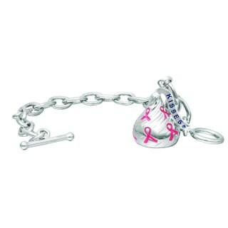 Hershey's Kisses Sterling-silver Medium 3D Breast Cancer Toggle Bracelet