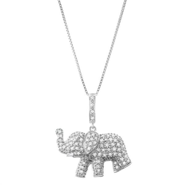 3316d1a7c Shop 1/3 CTTTW Diamond Elephant Pendant Necklace - 9'6