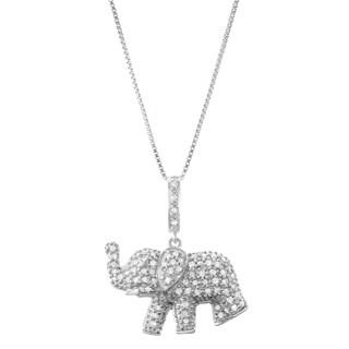"1/3 CTTTW Diamond Elephant Pendant Necklace - 9'6"" x 13'6"""