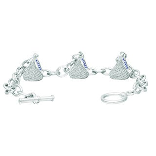 Hershey's Kisses Sterling Silver Cubic Zirconia Women's Small Flat Back Toggle Bracelet