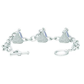 Hershey's Kisses Sterling Silver Cubic Zirconia Women's Small Flat Back Toggle Bracelet|https://ak1.ostkcdn.com/images/products/13444534/P20135152.jpg?impolicy=medium