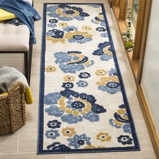 Safavieh Indoor/ Outdoor Cottage Ivory/ Blue Runner (2' 3 x 8')