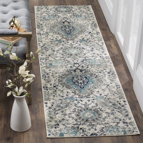 "Safavieh Madison Belle Paisley Boho Glam Cream/ Light Grey Rug - 2'3"" x 10'"