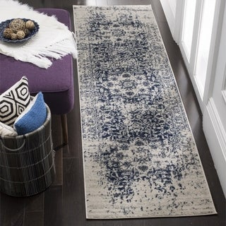 Safavieh Madison Vintage Medallion Cream/ Navy Distressed Runner (2' 3 x 6')