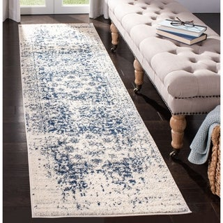 Safavieh Madison Vintage Medallion Cream/ Navy Distressed Runner (2' x 8')