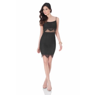 Terani Couture Black Polyester Illusion Two Piece Short Dress