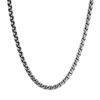 """Stainless Steel Men's Wheat Chain Necklace, 24"""""""
