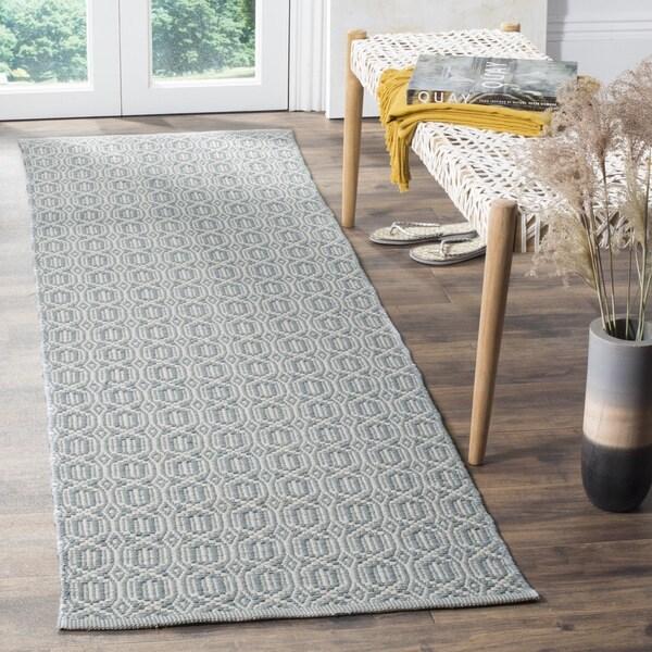 Safavieh Montauk Handmade Geometric Flatweave Ivory/ Blue Cotton Runner (2' 3 x 8')