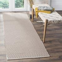 Safavieh Montauk Handmade Geometric Flatweave Ivory/ Grey Cotton Runner Rug
