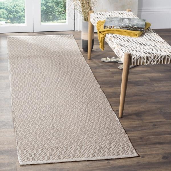 Safavieh Montauk Handmade Geometric Flatweave Ivory/ Grey Cotton Runner Rug - 2' 3 x 8'