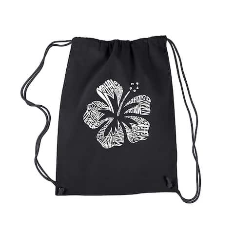 Los Angeles Mahalo Black Cotton Pop Art Drawstring Backpack