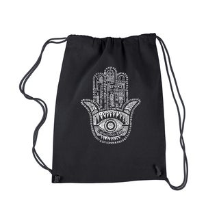 LA Pop Art Hamsa Black Cotton Drawstring Backpack