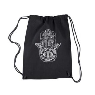 LA Pop Art Hamsa Black Cotton Drawstring Backpack