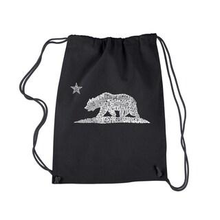 LA Pop Art California Bear Black Cotton Drawstring Backpack