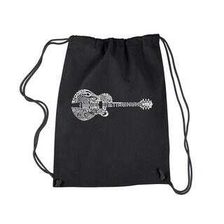 LA Pop Art Country Guitar Black Cotton Drawstring Backpack