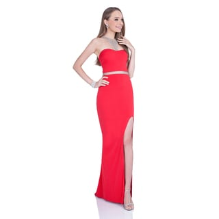 Terani Couture Polyester Sheath Gown With Crystal Neck