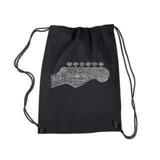 LA Pop Art Guitar Head Black Cotton Drawstring Backpack