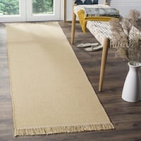 Safavieh Montauk Handmade Flatweave Ivory/ Yellow Cotton Runner - 2'3 x 8'