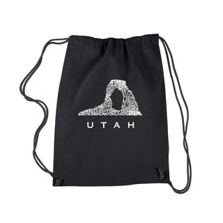 Los Angeles Pop Art Utah Black Cotton Drawstring Backpack